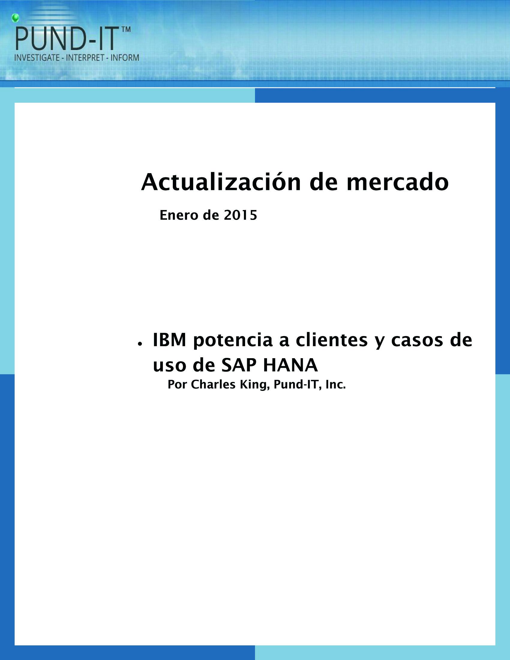 IBM potencia a clientes y casos de uso de SAP HANA