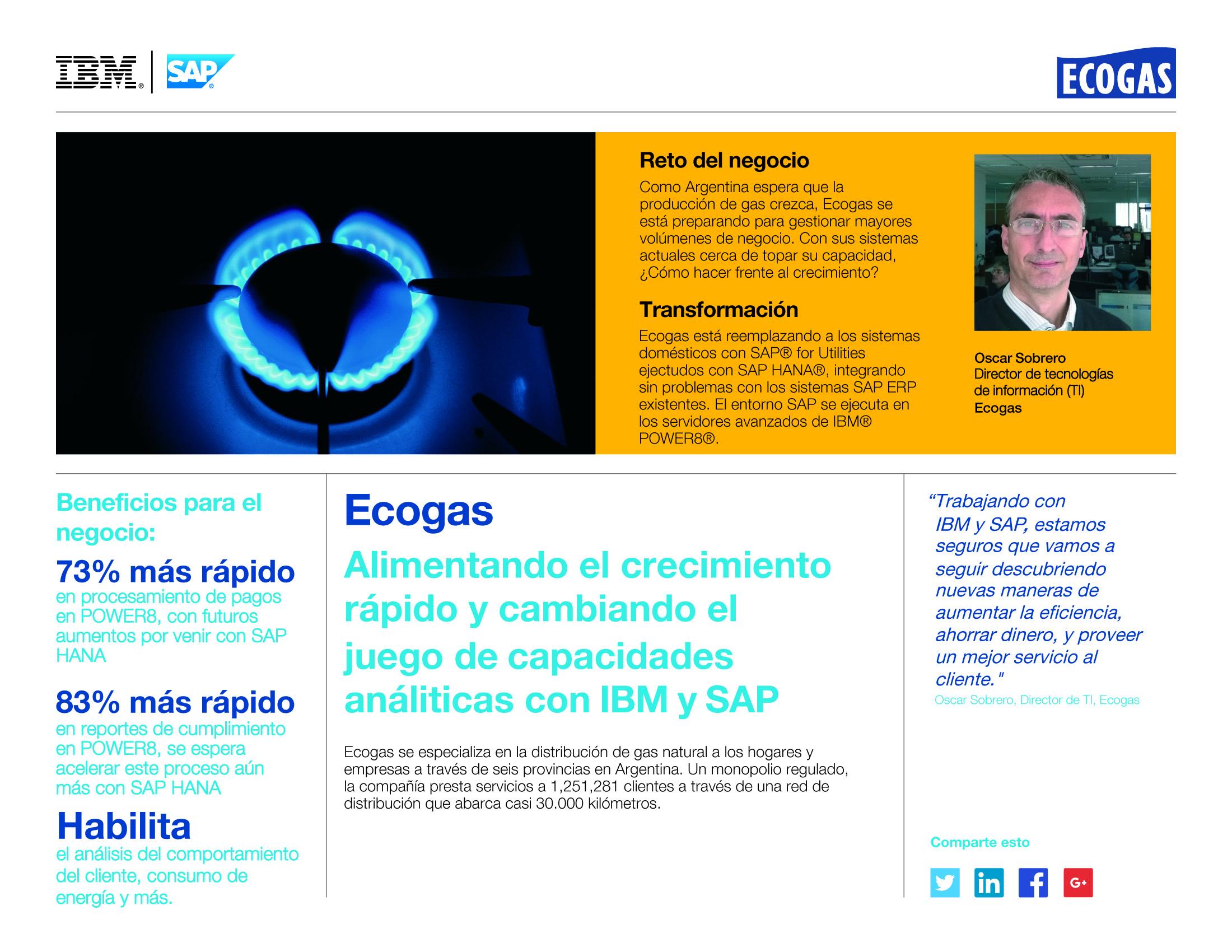 Ecogas. Alimentando el crecimiento rápido y cambiando el juego de capacidades análiticas con IBM y SAP