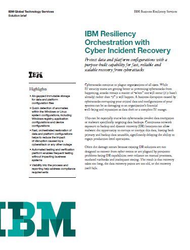 IBM Resiliency Orchestration con recuperación tras desastre